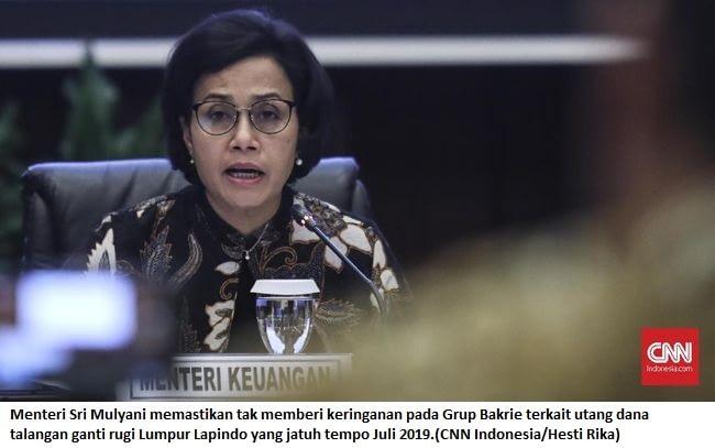 Menteri Sri Mulyani memastikan tak memberi keringanan pada Grup Bakrie terkait utang dana talangan ganti rugi Lumpur Lapindo yang jatuh tempo Juli 2019.(CNN Indonesia/Hesti Rika)