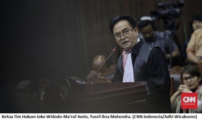 Ketua Tim Hukum Joko Widodo-Ma'ruf Amin, Yusril Ihza Mahendra. (CNN Indonesia/Adhi Wicaksono)