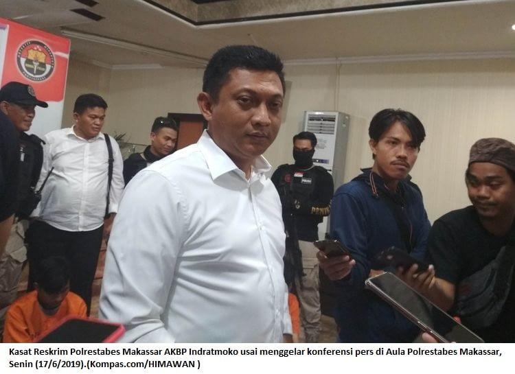 Kasat Reskrim Polrestabes Makassar AKBP Indratmoko usai menggelar konferensi pers di Aula Polrestabes Makassar, Senin (17/6/2019).(Kompas.com/HIMAWAN ) Artikel ini telah tayang di Kompas.com dengan judul
