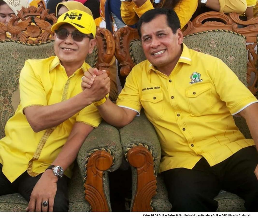 Ketua DPD I Golkar Sulsel H Nurdin Halid dan Bendara Golkar DPD I Rusdin Abdullah.